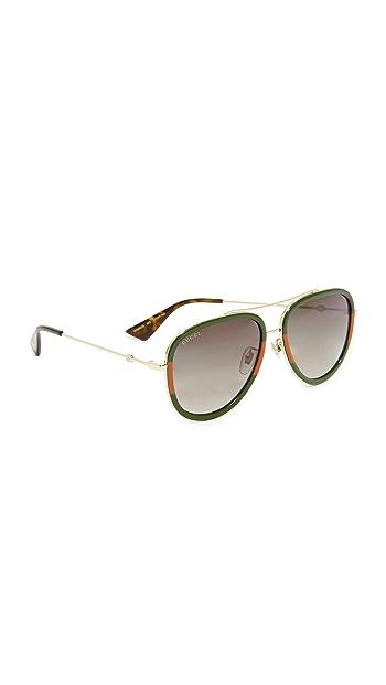 Gucci Pilot Urban Web Block Aviator Sunglasses - Gold/Green