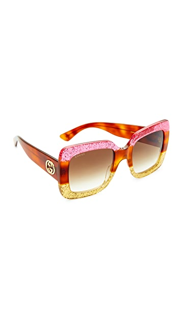 ed0d187f9 Gucci Square Urban Web Block Sunglasses | SHOPBOP