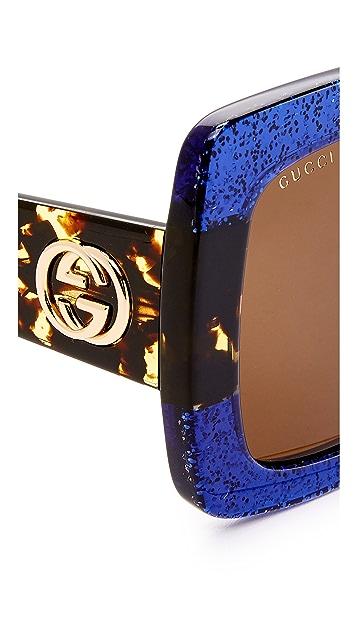 Gucci Urban Web Block 方形太阳镜