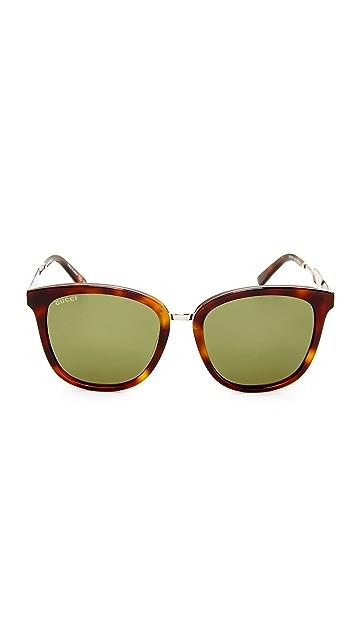 Gucci Крупные солнцезащитные очки Decorness