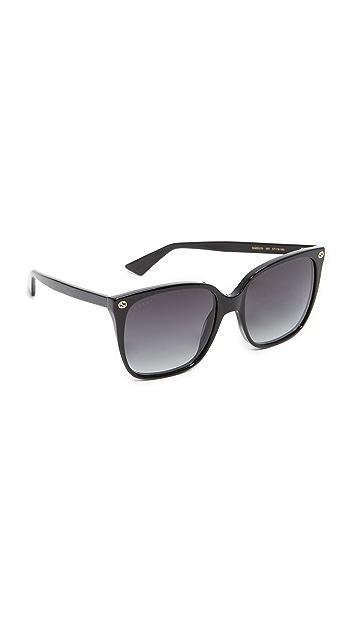 Gucci Lightness Square Sunglasses - Black/Grey