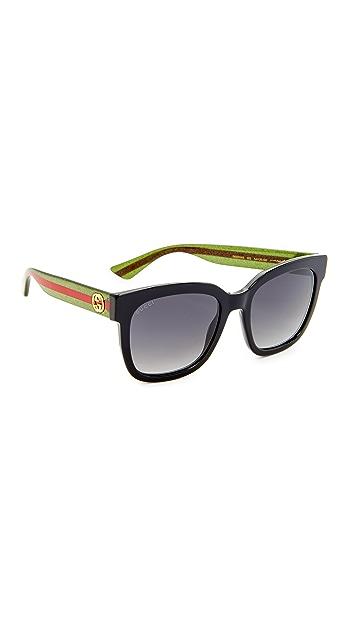 Gucci Urban Pop Square Sunglasses - Black Glitter Green/Gray