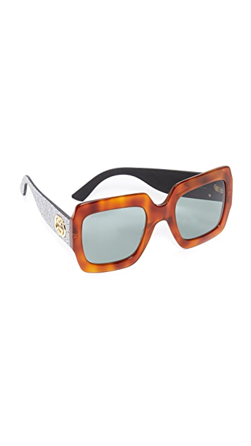 Gucci Urban Pop Glitter Square Sunglasses