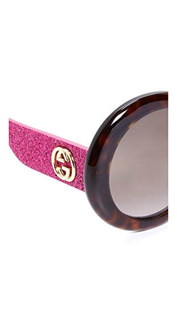 Gucci Urban Pop Glitter Round Sunglasses