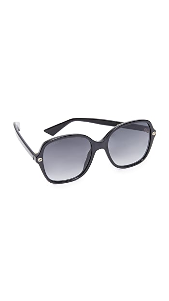 Gucci Sensual Romanticism Rectangle Sunglasses - Black/Grey