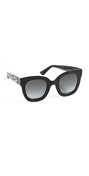 Gucci Urban Stars Rectangle Sunglasses - Black/Grey