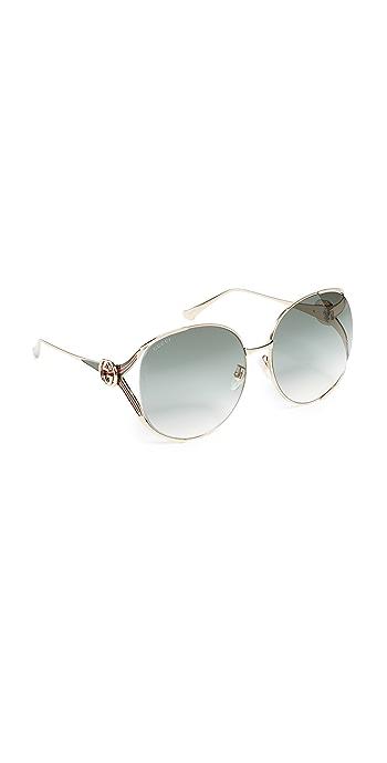 Gucci Urban Folk Oval Sunglasses - Gold/Green