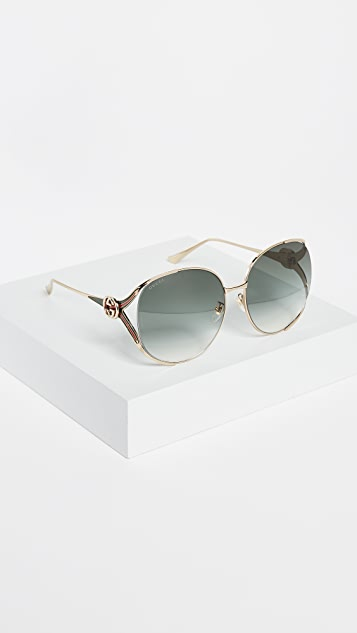 Gucci Urban Folk Oval Sunglasses