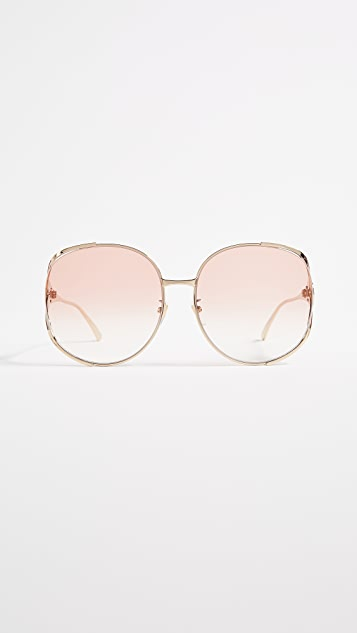 Gucci Urban Folk Oval Sunglasses - Gold/Orange