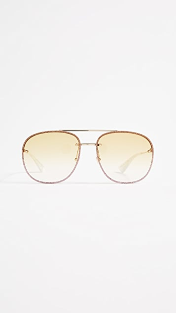 db15c4b3891 Gucci Urban Web Block Glitter Aviator Sunglasses