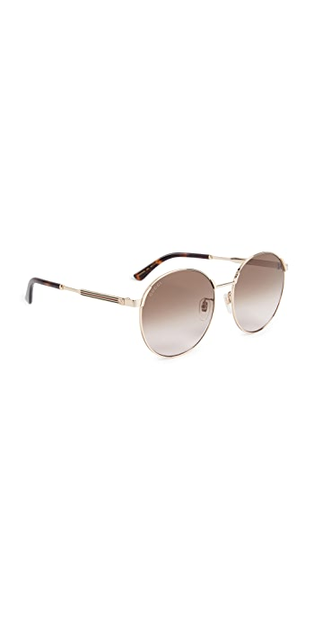 Gucci Sensual Romanticism Round Sunglasses - Gold/Brown