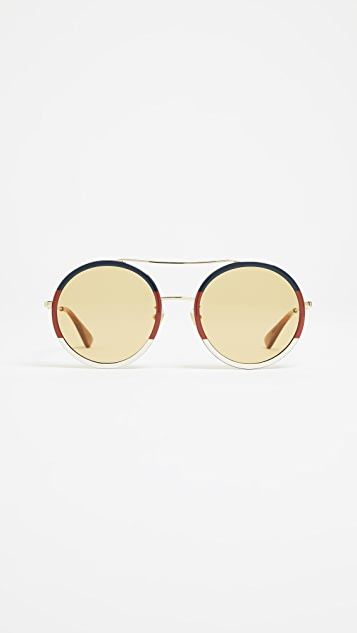 Gucci Web Block Round Sunglasses