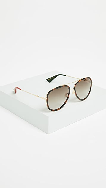 Gucci Web Block Pilot Sunglasses