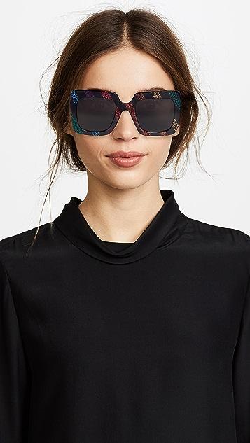 Gucci Солнцезащитные очки GG в крупной квадратной оправе