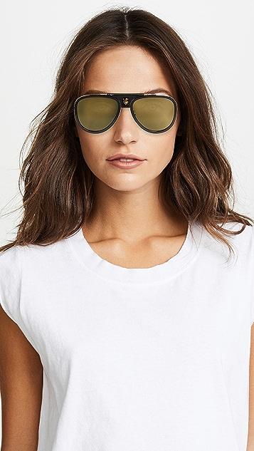 Gucci Web Block Leather Pilot Sunglasses