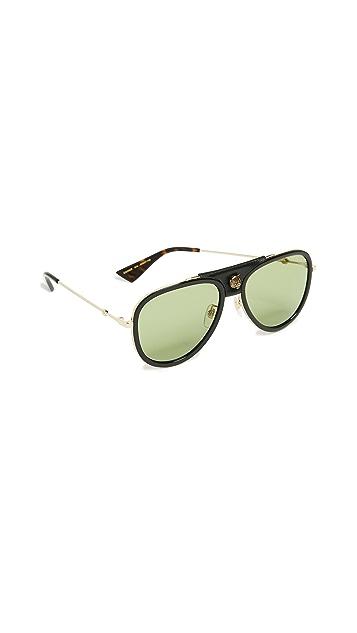Gucci Солнцезащитные очки Web Block с кожаными вставками