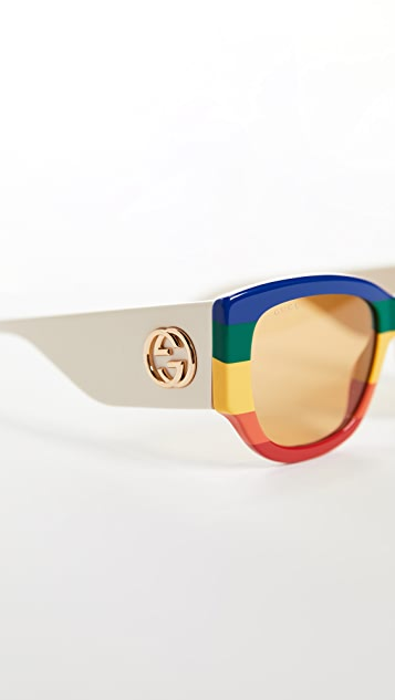 Gucci Эффектные солнцезащитные очки «кошачий глаз» Sylvie