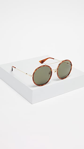 Gucci Urban Web Block Round Sunglasses