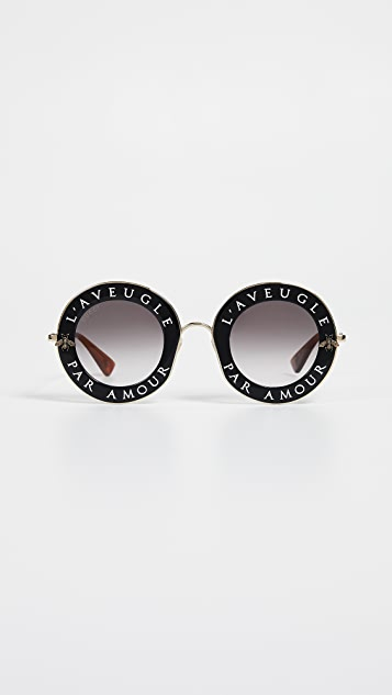 20a9010c8e Gucci. L Aveugle Par Amour Round Sunglasses. Add ...