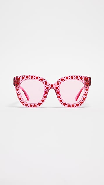 Gucci Hearts Cat Eye Frame with Swarski Crystals
