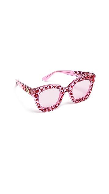 Gucci Оправа «кошачий глаз» Hearts с кристаллами Сваровски