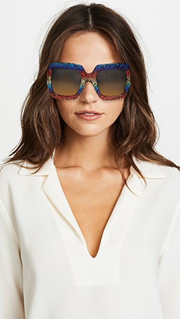 Gucci Pop Glitter Iconic Oversized Square Sunglasses