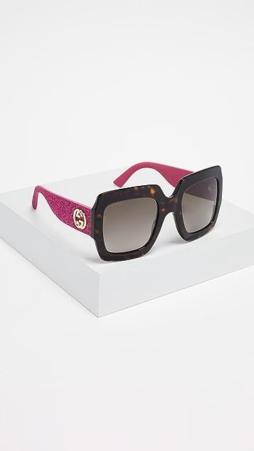 9a5442e824a0 Gucci Pop Glitter Iconic Oversized Square Sunglasses | SHOPBOP