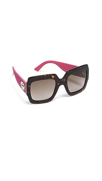 Gucci Pop Glitter Iconic 超大方形太阳镜