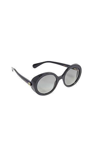 Gucci Гламурные яркие округлые солнцезащитные очки