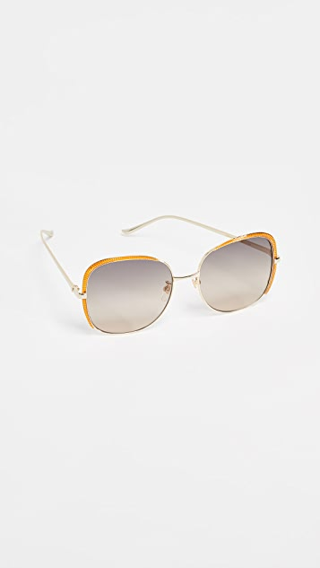 Gucci Oversized Embellished Square Shape Sunglasses