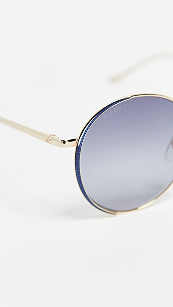 Gucci Oversized Embellished Round Shape Sunglasses