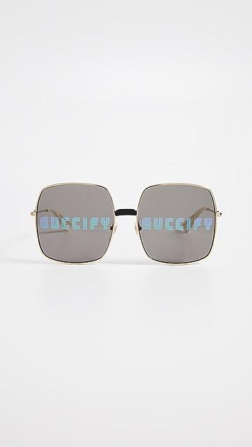 Gucci Guccify Square Metal Logo Sunglasses