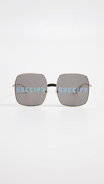 Gucci Квадратные солнцезащитные очки Guccify с металлическим логотипом