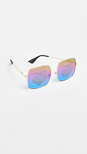 Gucci Guccify Square Metal Logo Sunglasses