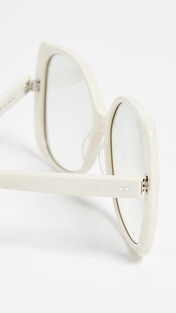 Gucci Выполненные вручную солнцезащитные очки в ацетатной оправе
