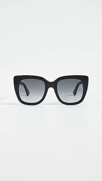 Gucci Socks 醋酸纤维塑料方形太阳镜