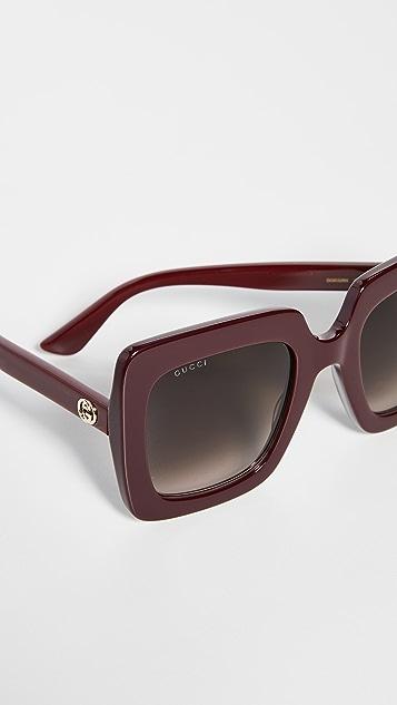 Gucci Большие квадратные солнцезащитные очки из ацетата GG