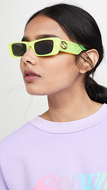 Gucci Fluo Narrow Acetate Rectangular Sunglasses
