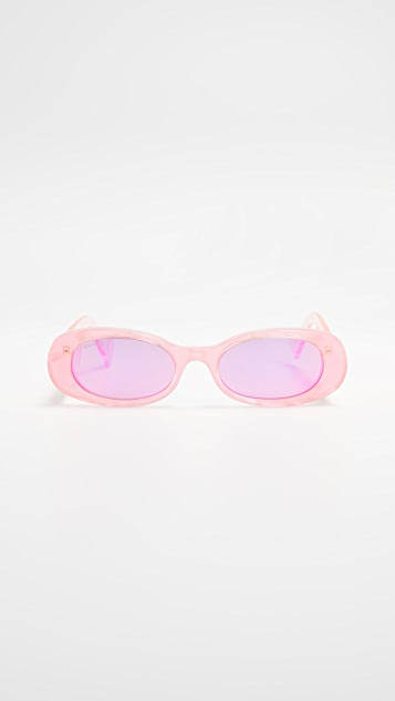 Gucci Солнцезащитные очки в узкой круглой оправе из флуоресцентного ацетата