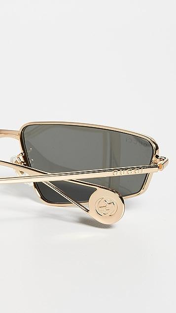 Gucci Узкие солнцезащитные очки-авиаторы «кошачий глаз» FS Evolution