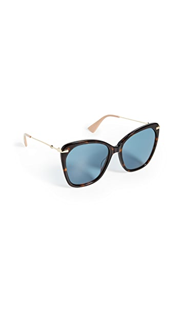 Gucci Web Lock Oversized Cat Eye Sunglasses