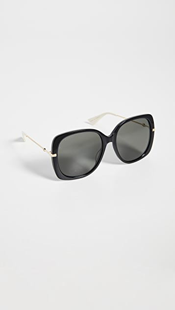 Gucci Sunglasses Web Lock Soft Square Sunglasses