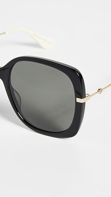 Gucci Web Lock 柔软方形太阳镜