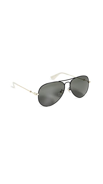 Gucci Солнцезащитные очки-авиаторы Web Lock Pilot