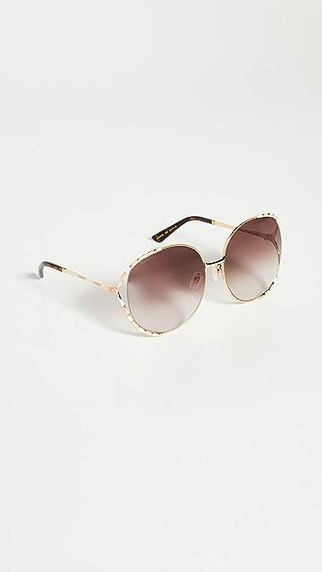 Gucci Женственные круглые солнцезащитные очки Fork
