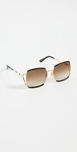 Gucci - Fork Square Sunglasses