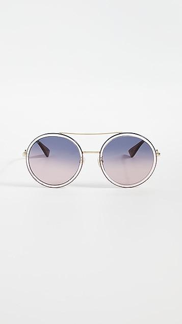 Gucci Urban Web 圆形太阳镜