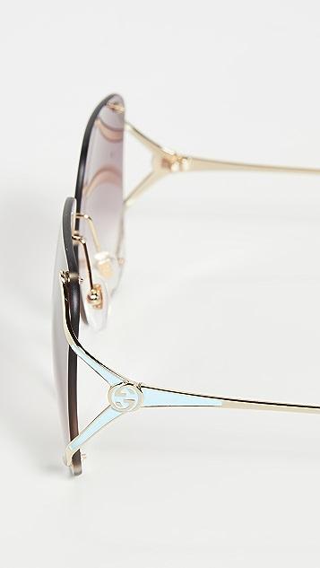Gucci Fork Oversized Rimless Sunglasses