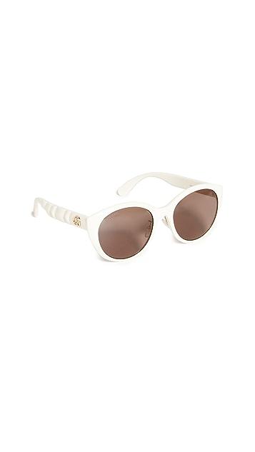 Gucci Matelasse Round Acetate Sunglasses