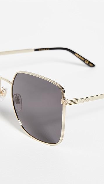 Gucci Light Metal Oversized Square Sunglasses